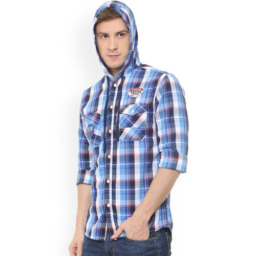 People Men Blue & White Slim Fit Checked Casual Shirt