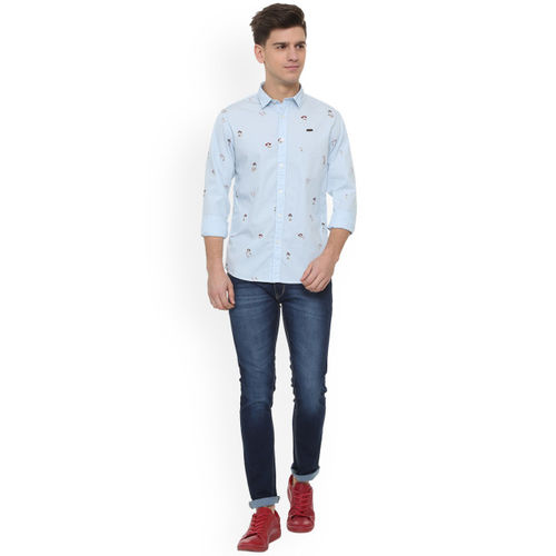 People Men Blue Regular Fit Printed Casual Shirt