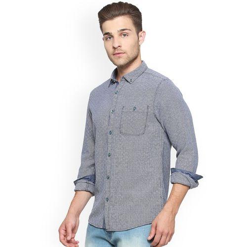 People Men Navy Blue & Off-White Regular Fit Printed Casual Shirt