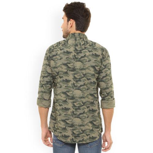 People Men Olive Green & Beige Regular Fit Printed Casual Shirt
