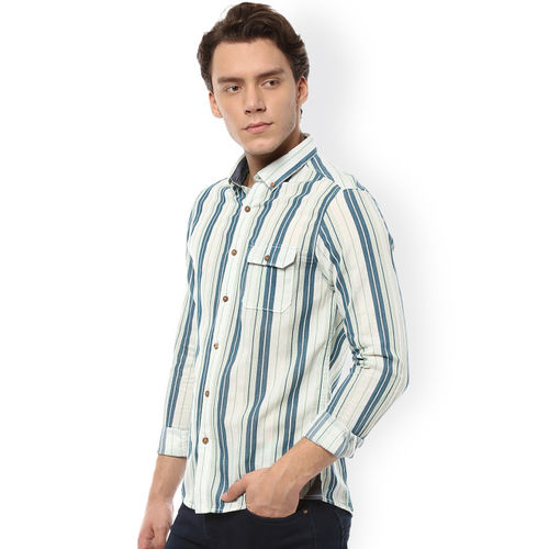 People Men Blue & White Slim Fit Striped Casual Shirt