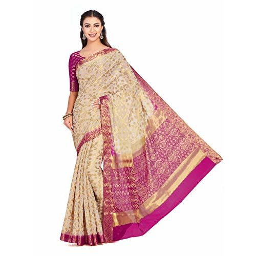 Mimosa Chiffon saree Kanjivaram pattu Style With Brocket Blouse light weight (4349-2312-2D-HWT-RNI)