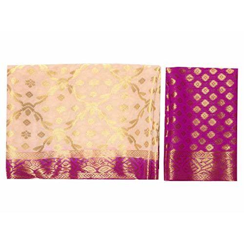 Mimosa Chiffon saree Kanjivaram pattu Style With Brocket Blouse light weight (4349-2312-2D-HWT-RNI)