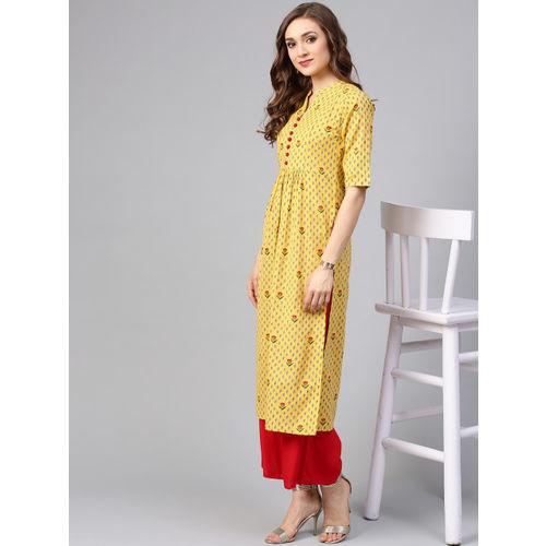Libas Women Mustard Yellow Printed Straight Kurta