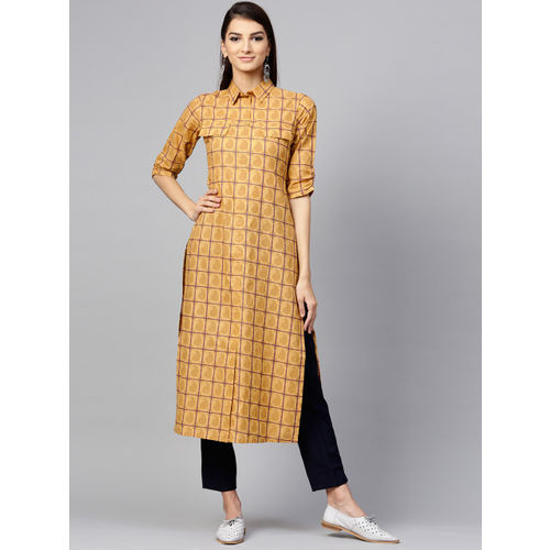 Libas Women Mustard Yellow & Navy Blue Checked Straight Kurta
