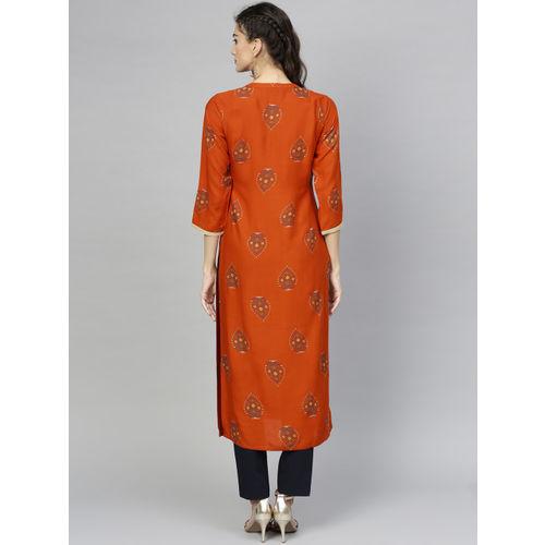 Libas Women Rust Orange & Teal Green Printed Straight Kurta