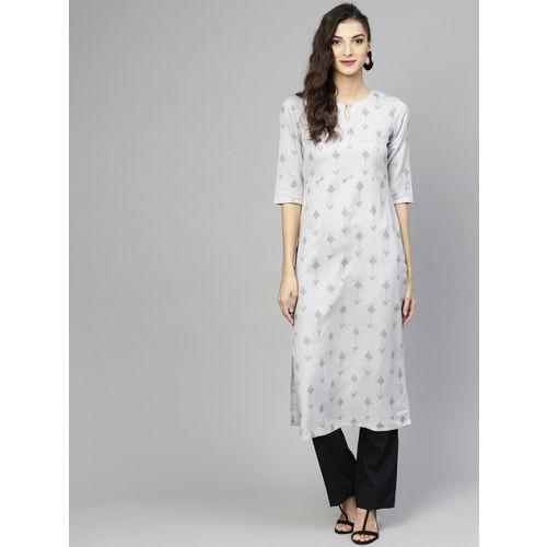 Libas Women Grey Printed Straight Kurta