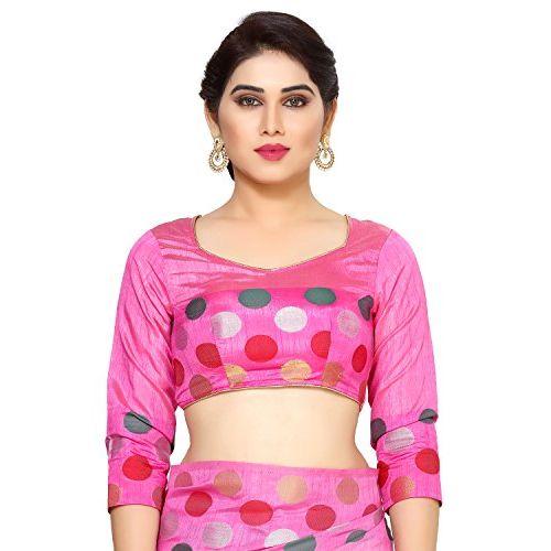 MIMOSA Tassar Silk Saree With Blouse Piece(4132-215-Sd-Pink_Baby Pink Free Size)