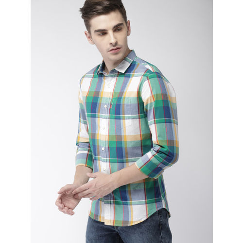 Levis Men Green & Blue Slim Fit Checked Casual Shirt