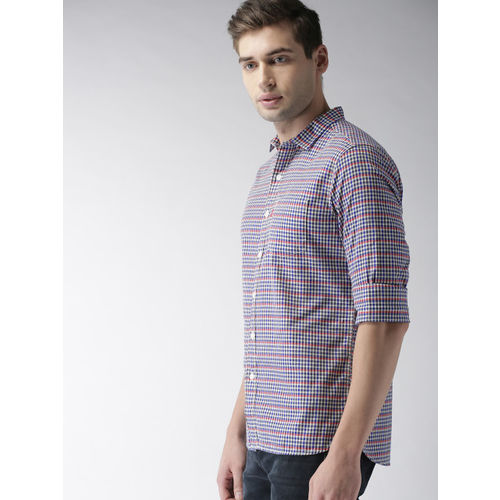 Levis Men Blue & White Slim Fit Checked Casual Shirt