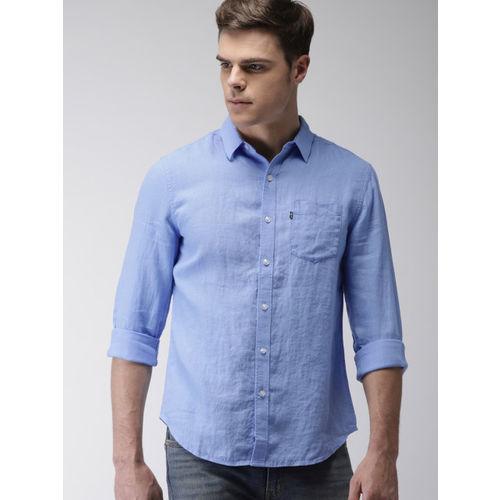 Levis Men Blue Linen Solid Slim Fit Casual Shirt