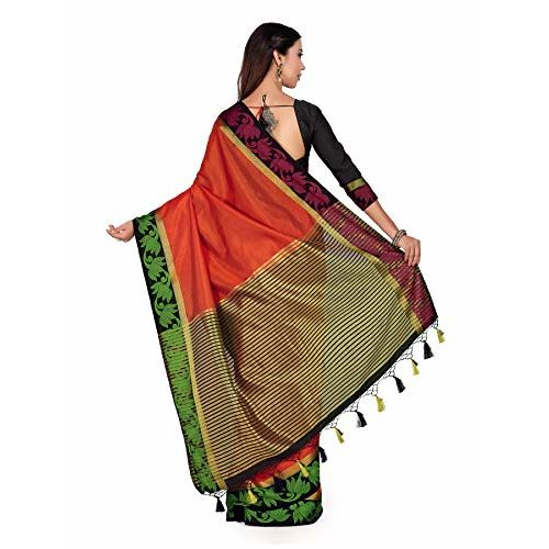 Mimosa Art Tusser silk saree Paithani style With Contrast Blouse Color: Orange (4294-2132-2D-ORG-BLK)