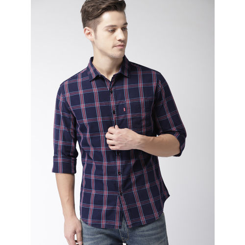 Levis Men Navy Blue & Red Slim Fit Checked Denim Casual Shirt