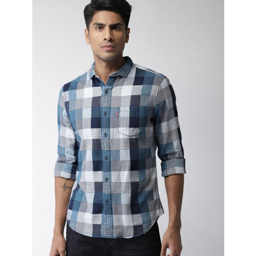Levis Men Blue & Off-White Slim Fit Checked Casual Shirt