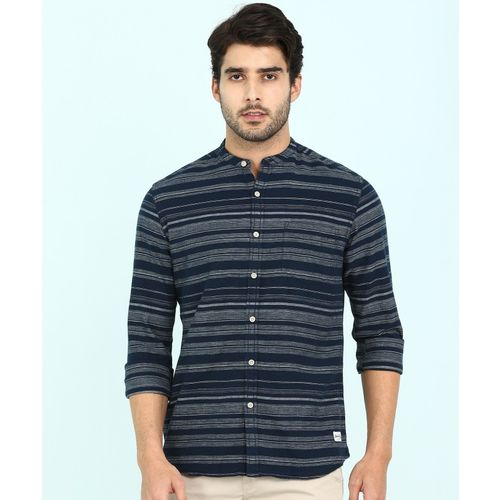 Flying Machine Men Striped Casual Blue, Grey Shirt