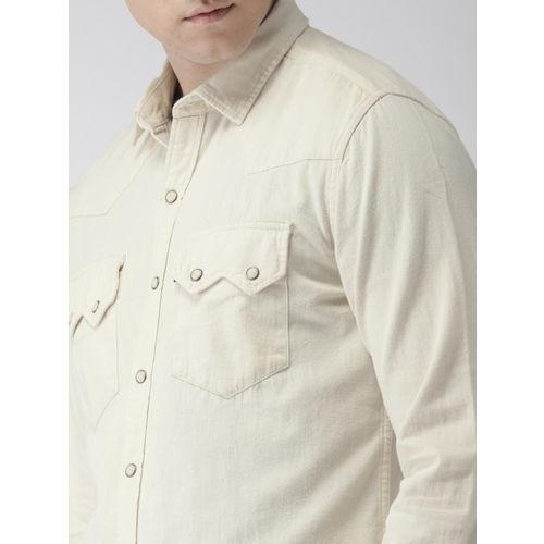 Levis Men Off-White Slim Fit Solid Denim Shirt
