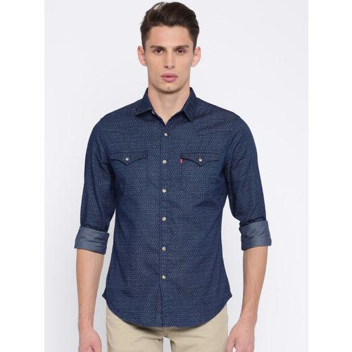 Levis Men Blue Classic Slim Fit Printed Casual Shirt