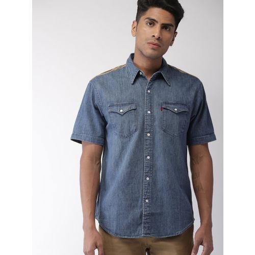 Levis X Justin Timberlake Men Modern Barstow Blue Slim Fit Printed Denim Casual Shirt