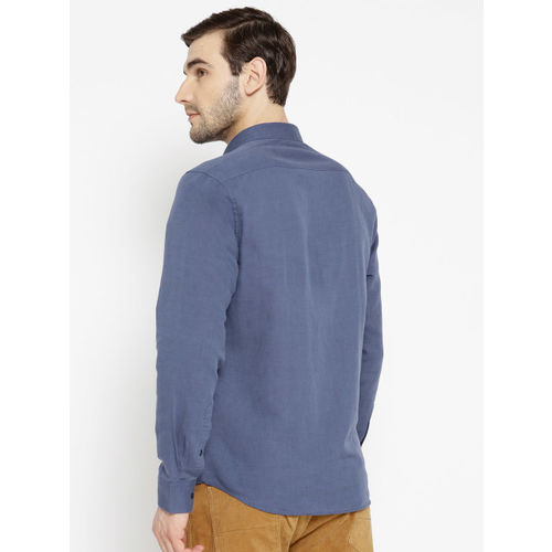 Blackberrys Men Navy Blue Slim Fit Solid Casual Shirt