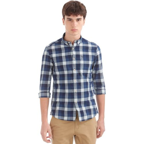 Flying Machine Men Checkered Casual Blue Shirt