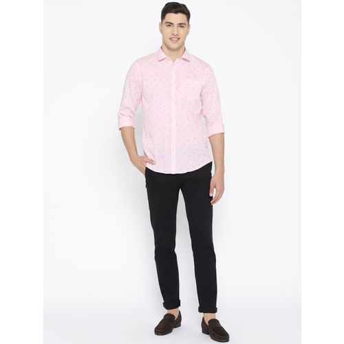 Blackberrys Men Pink & Navy Blue Slim Fit Printed Casual Shirt