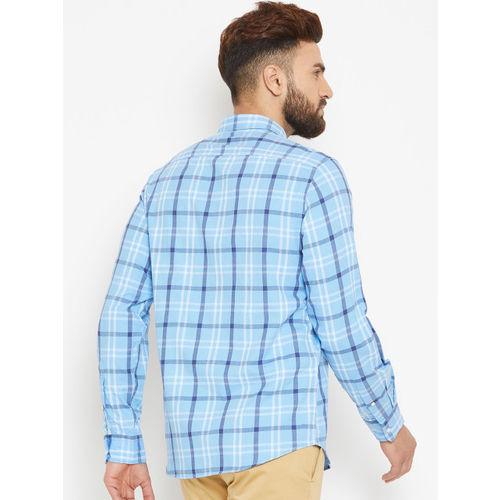 Blackberrys Men Blue Slim Fit Checked Casual Shirt
