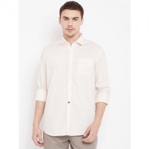 Blackberrys Men Peach-Coloured Slim Fit Textured Casual Shirt