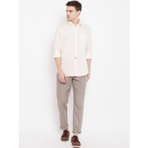 Blackberrys Men Peach-Coloured Slim Fit Textured Casual Shirt