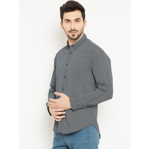 Blackberrys Men Black Slim Fit Printed Casual Shirt