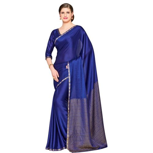 Mimosa Striped Fashion Poly Crepe Saree(Blue, Gold)