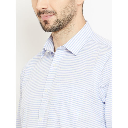 Blackberrys Men Blue & White Slim Fit Striped Casual Shirt