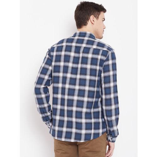 Blackberrys Men Navy Blue & White Slim Fit Checked Casual Shirt