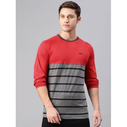 HRX by Hrithik Roshan Men Red & Black Striped Crew Neck T-shirt