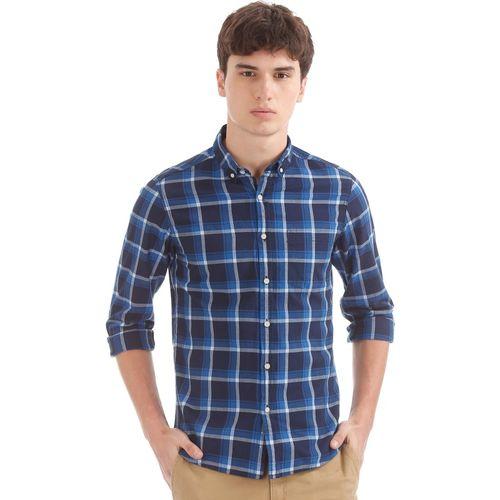 Flying Machine Men Checkered Casual Blue Shirt