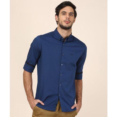 Flying Machine Men Solid Casual Dark Blue Shirt