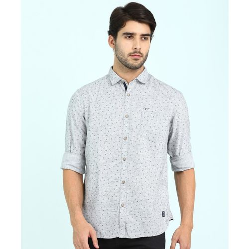 Flying Machine Men Printed Casual Grey Shirt