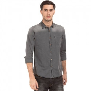 Flying Machine Men Solid Casual Grey Shirt