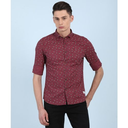 Flying Machine Men Floral Print Casual Maroon Shirt
