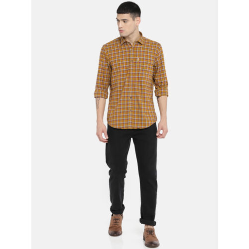 Blackberrys Men Brown Slim Fit Checked Casual Shirt