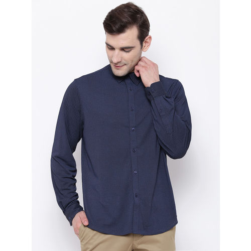 Blackberrys Men Navy Blue Slim Fit Self Design Casual Shirt