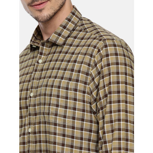 Blackberrys Men Brown & Beige Slim Fit Checked Casual Shirt