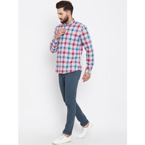 Blackberrys Men Magenta & Blue Slim Fit Checked Casual Shirt