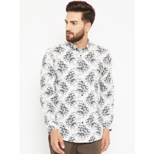 Blackberrys Men White & Black Regular Fit Floral Print Casual Shirt