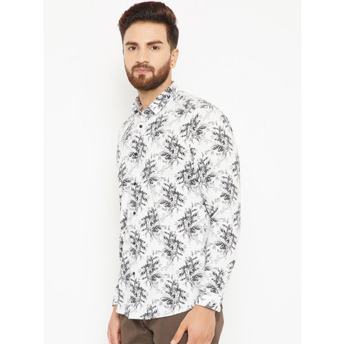 Blackberrys Men White & Black Regular Fit Floral Print Casual Shirt