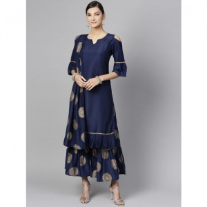 Libas Women Navy Blue & Golden Solid Kurta with Printed Sharara & Dupatta