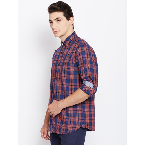 Blackberrys Men Navy Blue & Coral Red Slim Fit Checked Casual Shirt