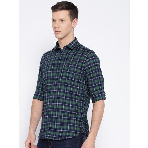 Blackberrys Men Navy Blue & Green Slim Fit Checked Casual Shirt