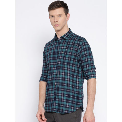 Blackberrys Men Blue Slim Fit Checked Casual Shirt
