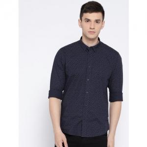 Blackberrys Men Navy Blue Slim Fit Printed Casual Shirt