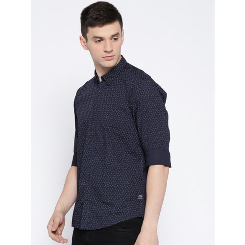 Blackberrys Men Navy Blue Slim Fit Printed Casual Shirt